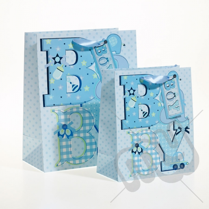 Baby Gift Bags Uk : Baby boy gift bag with foil detail medium pc my