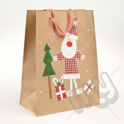 Santa Clause Kraft Paper Christmas Gift Bag with Glitter Detail - Large x 1pc