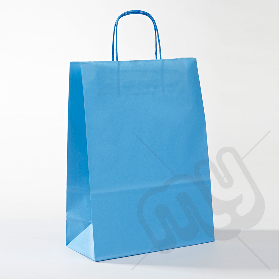 Blue Kraft Paper Bags with Twisted Handles - Large x 25pcs