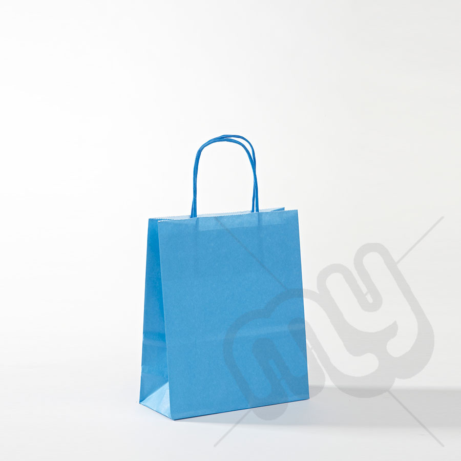 Blue Kraft Paper Bags with Twisted Handles - Small x 50pcs