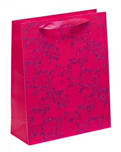 Luxury Pink Glitter Paper Gift Bag - Large x 1pc