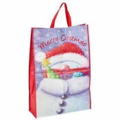 Cartoon Snowman Presents Christmas Bag for Life - Jumbo