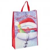 Cartoon Snowman Presents Christmas Bag for Life - Jumbo