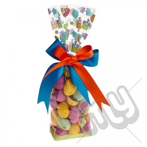 Dancing Chicken & Balloon Easter Printed Block Bottom Bags - 100mmx220mm x 10pcs