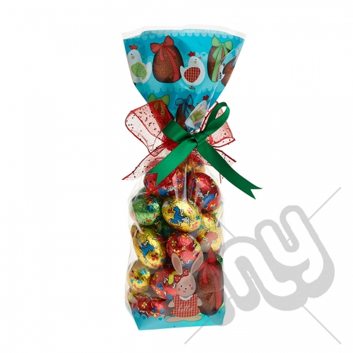 Turquoise Easter Egg and Hen Printed Block Bottom Bags - 100mmx220mm x 10pcs