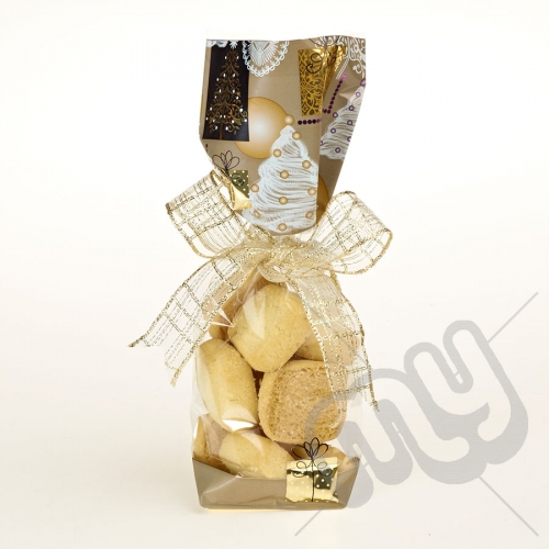 Golden Christmas Printed Block Bottom Bags - 100mmx220m x 50pcs