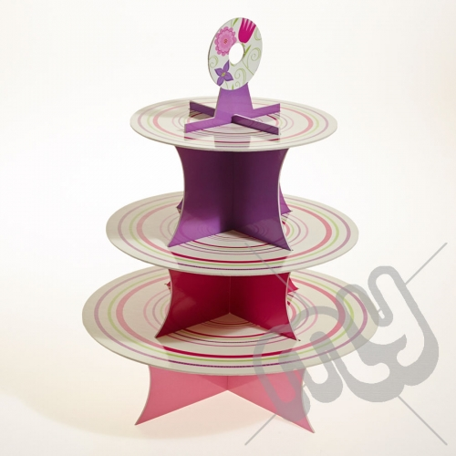 3 Tier Elegant Striped Floral Cake Stand x 1pc
