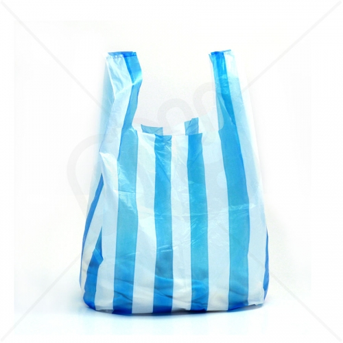 Candy Striped Plastic Carrier Bag 11x17x21 10 Micron (Light Strength) x 2000pcs