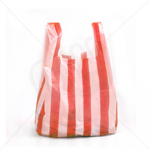 Candy Striped Plastic Carrier Bag 11x17x21 15 Micron (Medium Strength) x 2000pcs