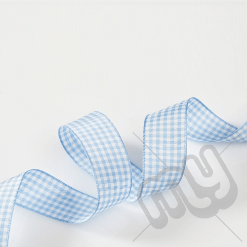 Sky Blue Gingham Ribbon 25mm x 20 metres