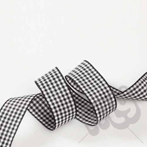 Black Gingham Ribbon 10mm x 20 metres
