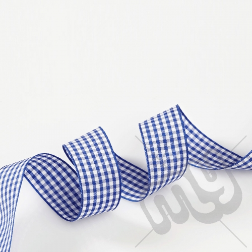 Blue Gingham Ribbon 15mm x 20 metres