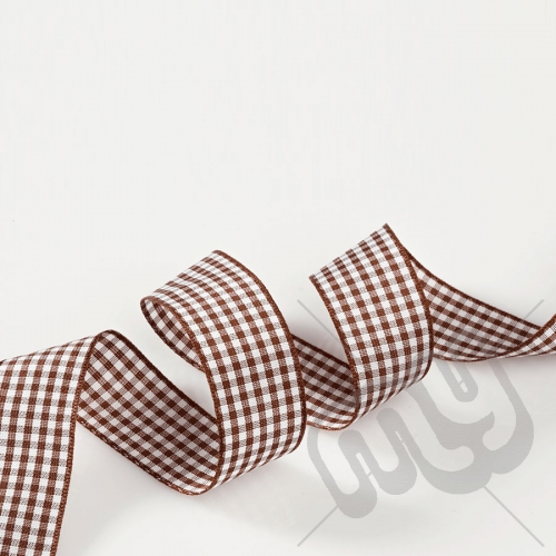 Chocolate Brown Gingham Ribbon 15mm x 20 metres