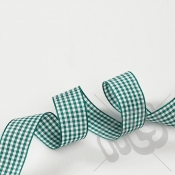 Green Gingham Ribbon 25mm x 20 metres