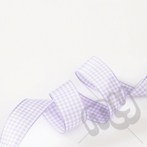 Lilac Gingham Ribbon 15mm x 20 metres