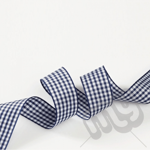 Navy Blue Gingham Ribbon 10mm x 20 metres
