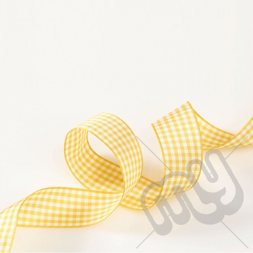 Gold Gingham Ribbon 10mm x 20 metres
