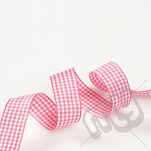 Pink Gingham Ribbon 10mm x 20 metres