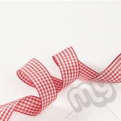Red Gingham Ribbon 10mm x 20 metres