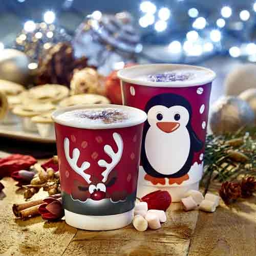 Rudolph Red Nose Reindeer Double Wall Coffee Cups with White Sip Through Lids - 8oz x 50pcs