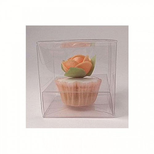 85mm x 85mm x 85mm Clear PVC Cupcake Boxes - With Inserts x 50pcs