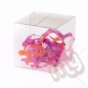 10cm x 10cm x 10cm Clear PVC Flat Folding Favour Boxes x 10pcs