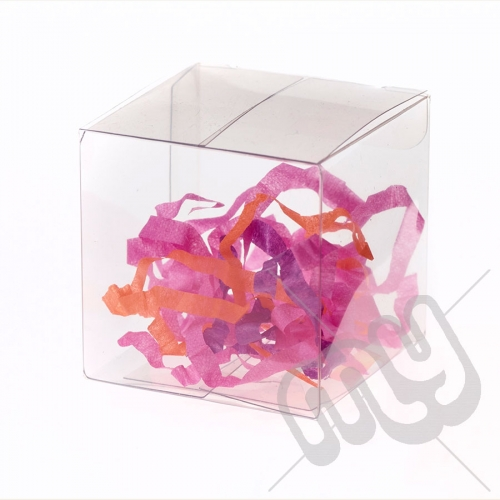 7cm x 7cm x 10cm Clear PVC Flat Folding Favour Boxes x 50pcs