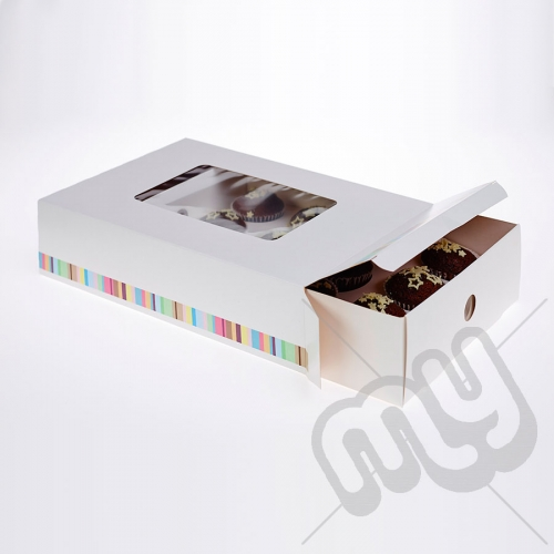 12 Hole Striped Cupcake Box x 5pcs