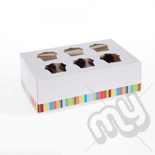6 Hole Striped Cupcake Box x 25pcs