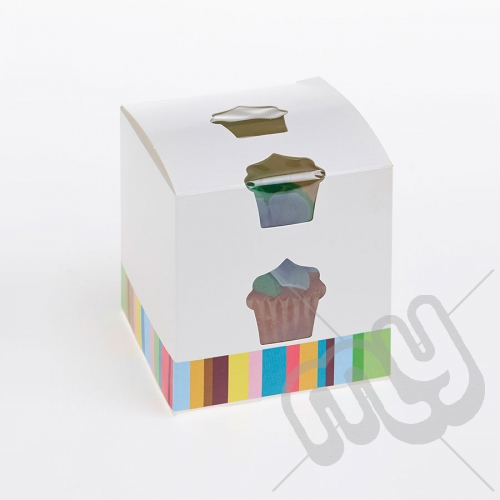 1 Hole Single Striped Cupcake Box x 10pcs