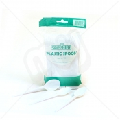 White Disposable Plastic Spoons x 100pcs