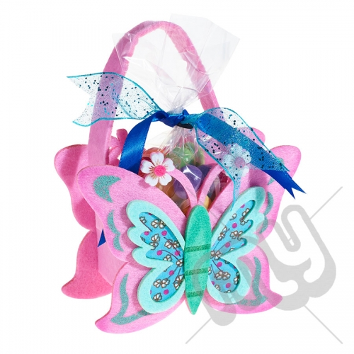 Pink Butterfly Felt Bag / Basket