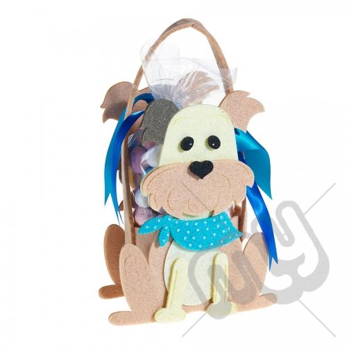 Male Blue Puppy Dog Felt Bag / Basket