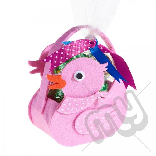 Pink Rubber Duck Felt Bag / Basket