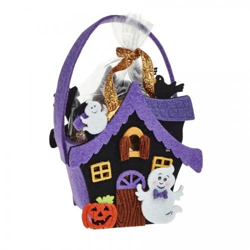 Halloween Haunted House Felt Bag / Basket