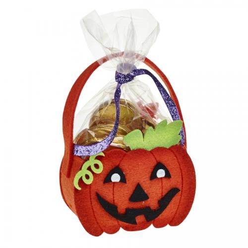 Carved Pumpkin Halloween Felt Bag / Basket