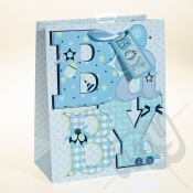 Baby Boy Gift Bag with Foil Detail - Large x 1pc