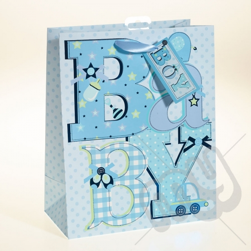 Baby Gift Bags Uk : Baby boy gift bag with foil detail large pc my
