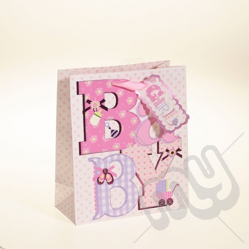 Baby Girl Gift Bag with Foil Detail - Medium x 1pc