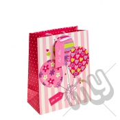 ' With Love For You ' Pink Balloon Gift Bag with Glitter Detail - Large x 1pc