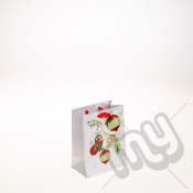 Golden Bauble & Holly Decoration Christmas Gift Bag - Small x 1pc