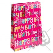 Pink Girly Happy Birthday Gift Bag - Extra Large x 1pc