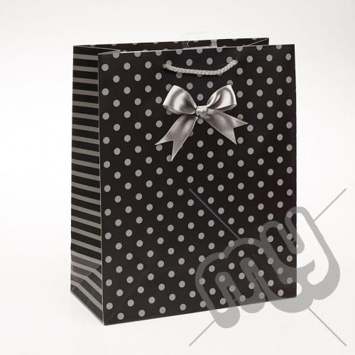 Luxury Black Polka Dott & Bow Design Paper Gift Bag - Large x 1pc