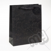 Luxury Black Glitter Paper Gift Bag - Large x 1pc
