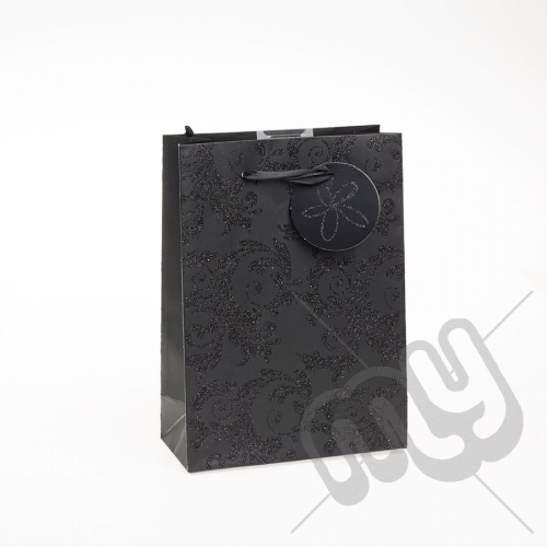 Luxury Black Glitter Paper Gift Bag - Medium x 1pc