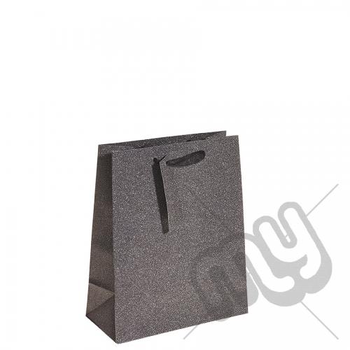 Charcoal Black Glitter Gift Bag - Medium x 1pc