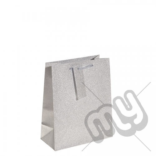 Silver Glitter Gift Bag - Medium x 1pc