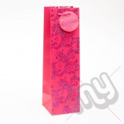 Luxury Pink Glitter Paper Gift Bag - Bottle x 1pc