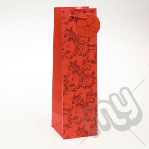 Luxury Red Glitter Paper Gift Bag - Bottle x 1pc