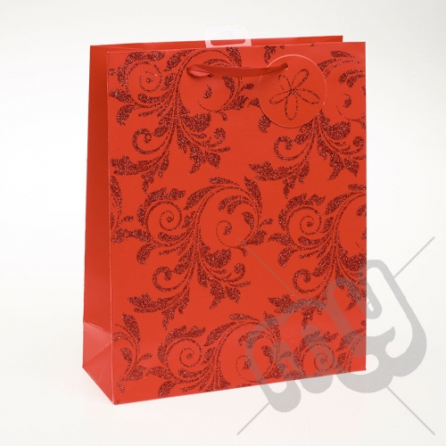 Luxury Red Glitter Paper Gift Bag - Large x 1pc